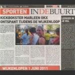 Kickbokster Marleen Okx ontspant tijdens de wijkenloop